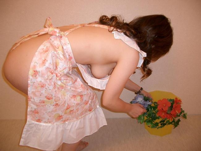 【おっぱい】裸エプロンで男性の胃袋と玉袋を掴んでくるスケベな女【30枚】