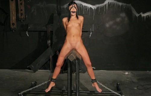 【おっぱい】三角木馬という超絶痛い拷問器具でチクビ勃起させて悶絶しちゃってるM女の三角木馬おっぱい画像集【80枚】